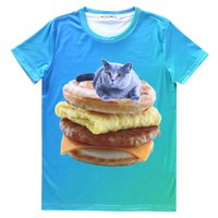 Grey Chartreux Kitty Cat on a Sausage Egg McMuffin Graphic Print T-Shirt | Gifts for Cat Lovers