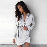 Autumn Long Sleeve Slim Irregular Shirt One Piece Dress [10760758927]