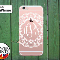 White Lacy Monogram Initials Mandala Floral Cute Clear Rubber Phone Case for iPhone 5/5s and 5c and iPhone 6 and 6 Plus + and iPhone 6s