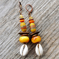 African Earrings, Tibetan Copal Earrings, Boho Earrings, Amber Earrings, Dangle Earrings, Ethnic Jewelry, Dangle Earrings, Tribal Gypsy