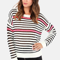 Neons Ago Ivory Striped Sweater