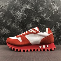 Louis Vuitton Lv Runner Sneaker Suede Calf Leather And Textile Red - Best Online Sale