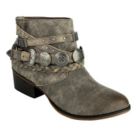 Taupe Braid & Buckle-Accent Anchorage Leather Ankle Boot