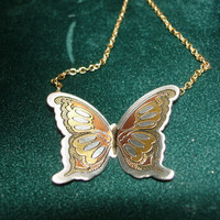Butterfly Reed and Barton Damascene Gold Tone/Silver Tone Necklace