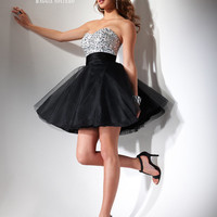 SALE! FLIRT by Maggie Sottero Prom Dresses-White And Black Beaded Sparkle Strapless Dress - Unique Vintage - Prom dresses, retro dresses, retro swimsuits.