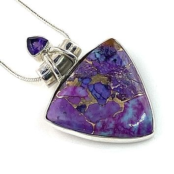 Purple Turquoise & Amethyst Sterling Silver Point Pendant