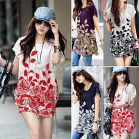 Women's Fashion Casual Loose Floral Tunic Dresses Flower Printed O-neck Short Sleeves One Piece Mini Dress  Plus Size  = 5739136129