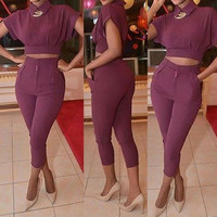 Purple Short Sleeve Cropped Top and Pencil Pants