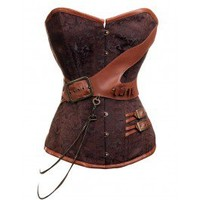 CD-237 Steampunk Brocade Corset with Chain and Belt Detailing STOCK AVAILABLE