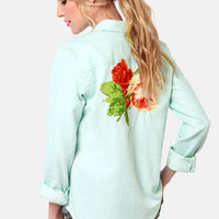 Obey Rusted Embroidered Blue Button-Up Top