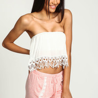 White Strapless Crochet Crop Top