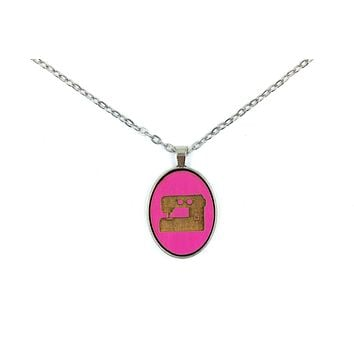 Hot Pink Sewing Machine Small Cameo Oval Pendant   Silver   Handmade