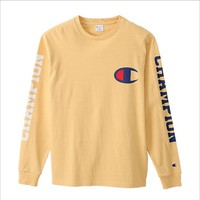 Champion thin section of the C double-sleeved letter printing long-sleeved T shirt wild jacket men and women models