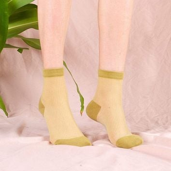 Mori Sheer Striped Sock | Chartreuse Green