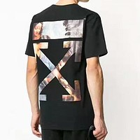 OFF WHITE Summer Women Men Personality Religious Arrow Print T-Shirt Top Blouse
