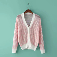 Pink Striped Knitted Cardigan
