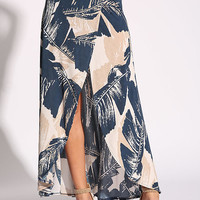 Navy Feather Faux Wrap Maxi Skirt