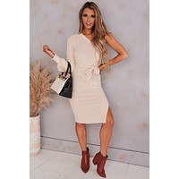 No Need For A Ring Off The Shoulder Dress (Oatmeal)