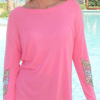 Pink Sequined Arrow Pattern T-Shirt