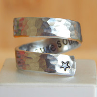 Stay Awesome Secret Message Hammered Ring - Aluminium - Hand Stamped