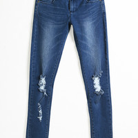 Navy Bleached Ripped Pencil Pants