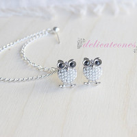 Baby Owl Pearl Bow Stud Chain Cartilage Earring / Cartilage Piercing