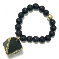 Natural Stone Bead Statement Bracelet