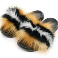 Amina Love Fox Fur Slides