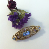 Victorian Style Bar Pin Blue Purple Rhinestone and Gold Victorian Revival Brooch With Emerald Cut Sapphire Blue Crystal Scarf Hat Lapel Pin