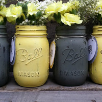 Gray and Yellow Distressed Mason Jars with Personalized Tags,Gender Neutral Baby Shower Decor,Rustic Wedding Decor,Rustic Decor,Set of 4