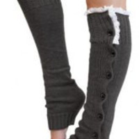 Gray Lace Knitted Leg Warmers