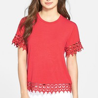 Women's KUT from the Kloth 'Lacey' Lace Trim Tee