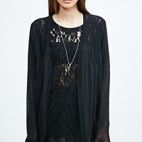 Pins & Needles Mesh Cocoon Cardigan in Black - Urban Outfitters