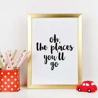 Printable quote Word art Dr Suess Quotes, Oh the Places You'll Go, PRINTABLE Art, Vintage Map, Hot Air Balloon, Nursery Decor, Literary Gift