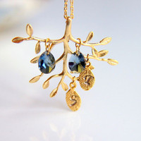 Elegant Tree Branch Necklace: Gold plated  tree branch necklace, with smoke blue colored swarovski crystals customizable leaves  initials