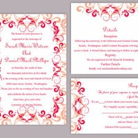 DIY Wedding Invitation Template Set Editable Word File Instant Download Printable Peach Invitation Red Wedding Invitation Beige Invitations