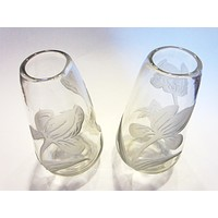 Cameo Tulips French Etched Glass Vases Signed Legras France