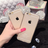 3D Diamond Minnie Mickey Mouse Case For iPhone 6 6S Plus Rhinestone Soft Transparent Clear Phone Cover for iPhone 7 Plus Cases