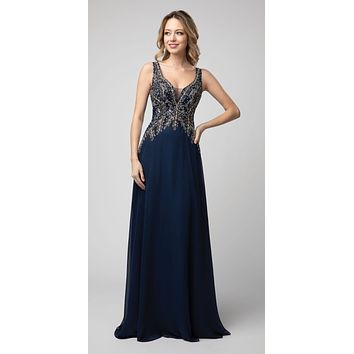 CLEARANCE - A-Line Long Formal Dress Appliqued Bodice Navy Blue (Size Medium)