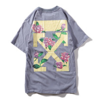 Off White New fashion letter cross arrow floral print couple top t-shirt Gray Blue