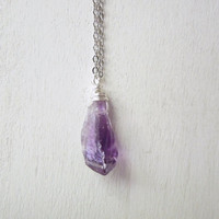 Raw Amethyst Crystal Necklace - Natural Rouch Cut Purple Amethyst Nugget Pendant Necklace Silver Chain stone no.8