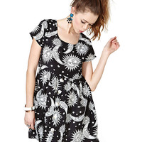 Sun + Moon Print Pleated Chiffon Dress
