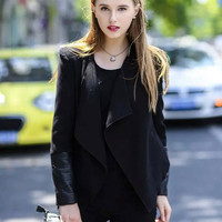 Black Leather Accent Cardigan