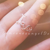 Knuckle Ring, Love Ring, Above knuckle Ring, Mid Finger Ring, Statement Ring, Word Ring, Sterling Silver, Midi Ring, Tea Ring