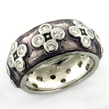 Men's Silver Band Rings LOAS730 Rhodium 925 Sterling Silver Ring with Epoxy