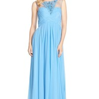 Women's JS Collections Embellished Illusion Yoke Chiffon Gown