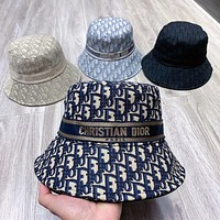 Dior CD Fashion Characterized Letter Full Printed Bucket Hat Ribbon Fisherman Hat