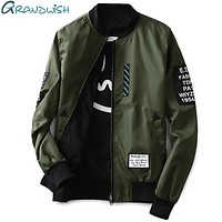 Men Pilot Jacket With Patches Both Sides / Thin Pilot Bomber Jacket