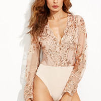 Lace And Sequins Long Sleeve Bodysuit