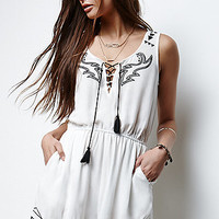Erin Wasson Embroidered Lace-Up Romper at PacSun.com